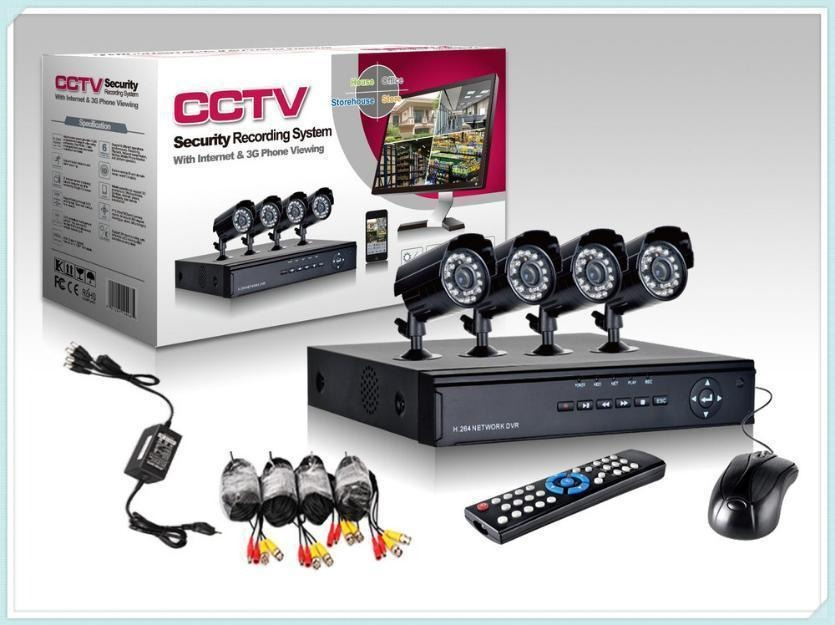 Cctv Kit De Seguridad Dvr + 4 Camaras Exterior E Interior (Color Negro)