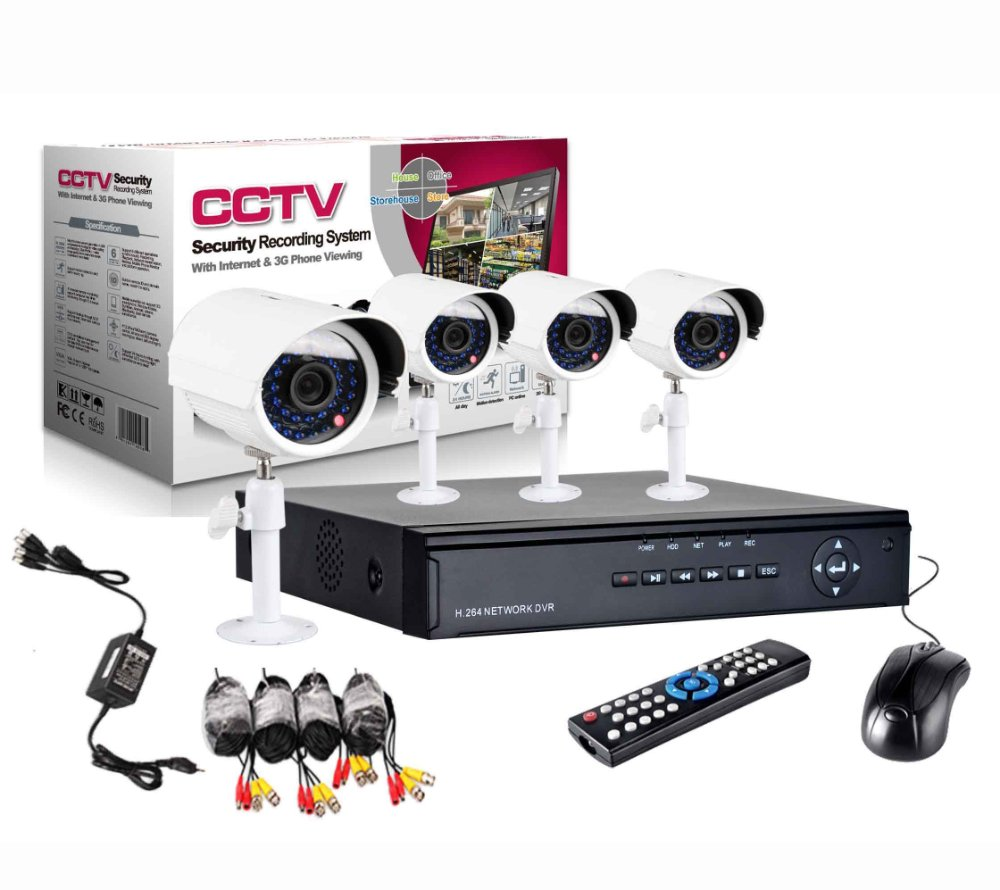 Cctv Kit De Seguridad Dvr + 4 Camaras Exterior E Interior (Color Blanco)